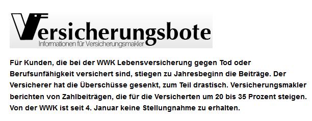 Versicherungsbote titelt: WWK Lebensversicherung will mehr Netto.