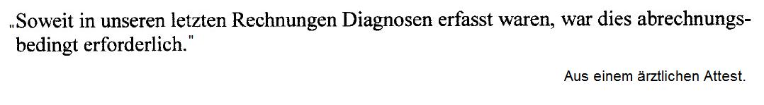 """Abrechnungsdiagnose: """"war dies abrechnungsbedingt erforderlich"""""""