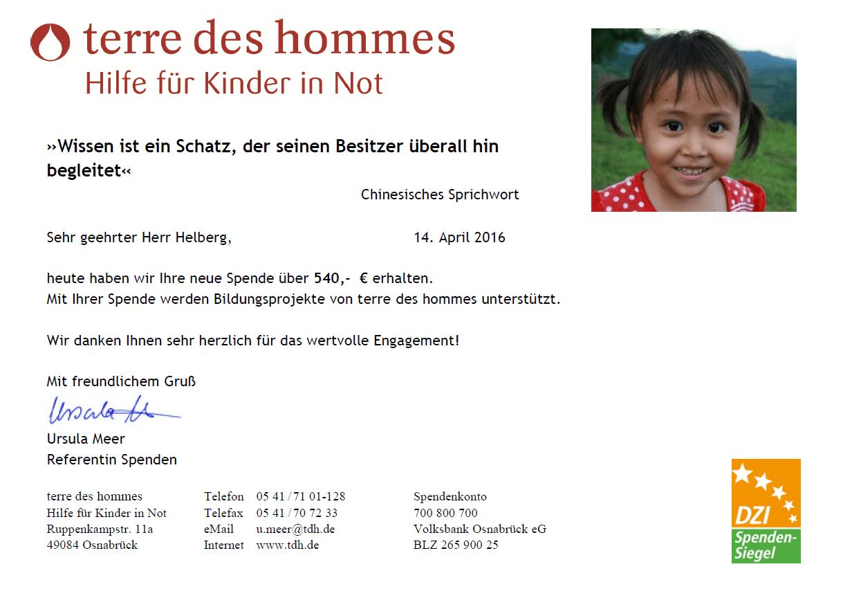 """Spendenbestätigung terre des hommes: 17.575 Wochen """"Lernen für ein besseres Leben""""."""