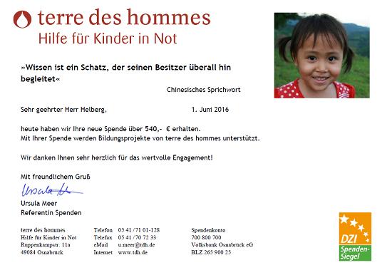 terre des hommes Spendenbestätigung für April 2016