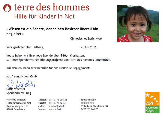 terre des hommes Spendenbestätigung für Mai 2016