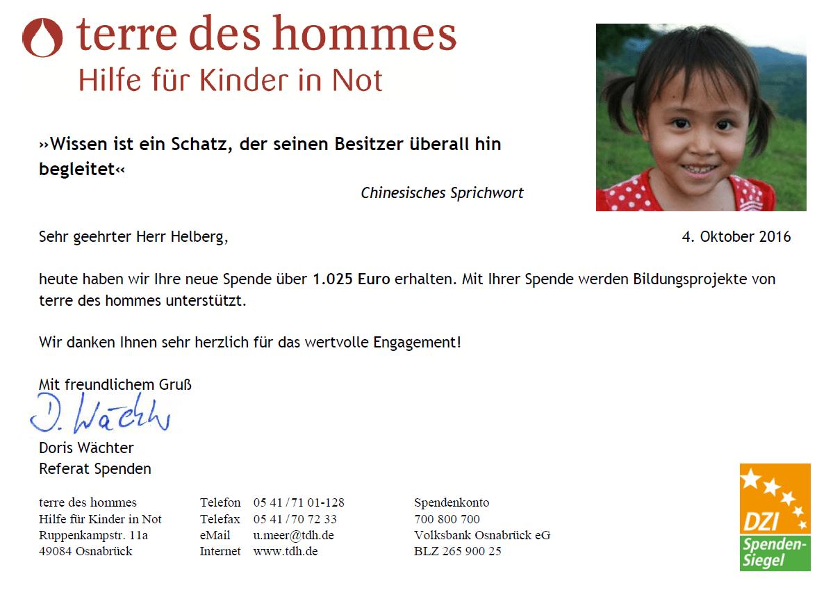 terre des hommes Spendenbestätigung für August 2016