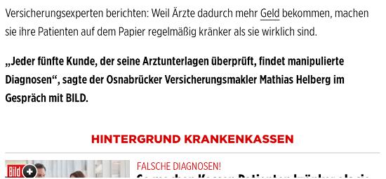 BILD zitiert Matthias Helberg, Falsche Abrechnungsdiagnosen gefährden Versicherungsschutz