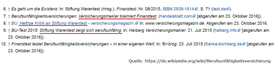 Wikipedia zur Berufsunfähigkeitsversicherung referenziert www.helberg.info. Quelle: www.wikipedia.de/Berufsunfähigkeitsversicherung