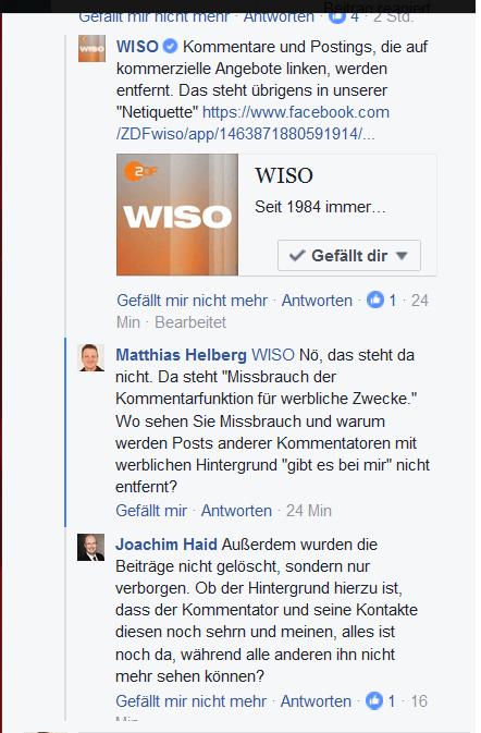 WISO zitiert eigene Netiquette falsch. Quelle: www.facebook.com/ZDFwiso