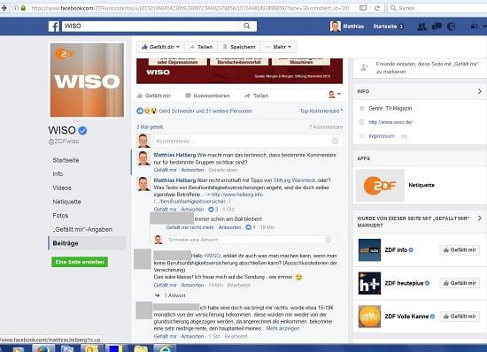 ZDF WISO verbirgt kritische Kommentare auf Facebook, Teil 1. Bildquelle: www.facebook.com/ZDFwiso