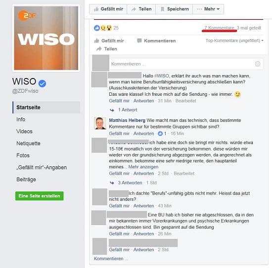 """ZDF WISO """"blendet"""" unliebsame Kommentare auf Facebook aus. 7 Kommentare, 6 werden anzeigt. Quelle: /www.facebook.com/ZDFwiso"""
