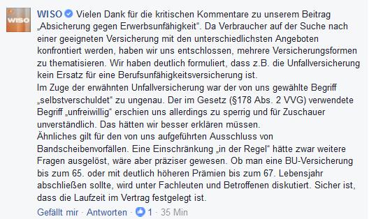 WISO-Antwort zur Kritik am WISO-Tipp. Quelle: facebook.com/ZDFwiso