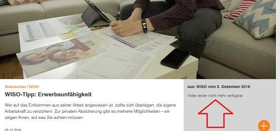 WISO Tipp Erwerbsunfähigkeit leider nihct mehr verfügbar. Quelle: zdf.de