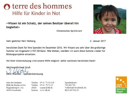 Spendenbestätigung terre des hommes für November und Dezember 2016