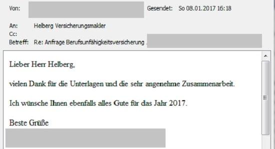 """Erfahrungen mit Helberg Versicherungsmakler: """"Vielen Dank für die Unterlagen und die sehr angenehme Zusammenarbeit."""""""