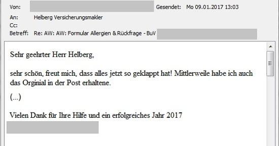 """Erfahrungen mit Helberg Versicherungsmakler: """"Freut mich, dass alles jetzt so geklappt hat!"""""""