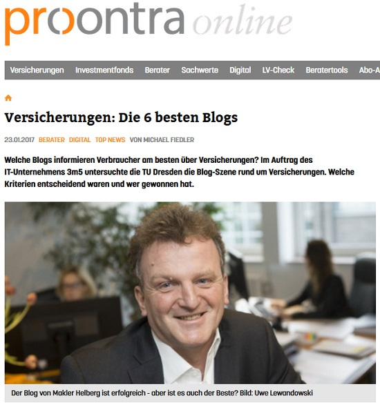 ProContra Online am 23.01.2017: Die 6 besten Blogs. Quelle: procontra-online.de