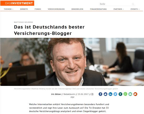 Das Investment: Das ist Deutschlands bester Versicherungs-Blogger