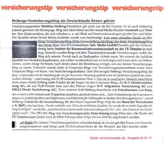 versicherungstip: Helberg Versicherungsblog als Deutschlands Bester gekürt