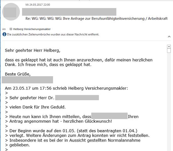 """Kunden über Ihre Erfahrungen mit Helberg Versicherungsmakler: """"Meinen herzlichen Dank"""""""