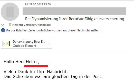 """Kunden über Ihre Erfahrungen mit Helberg Versicherungsmakler: """"Hallo Herr Helfer"""""""