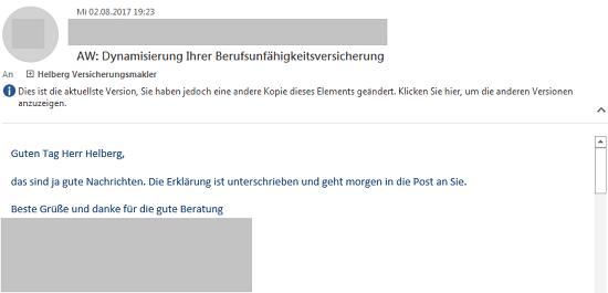 """Kunden über Ihre Erfahrungen mit Helberg Versicherungsmakler: """"Beste Grüße und Danke für die gute Beratung"""""""