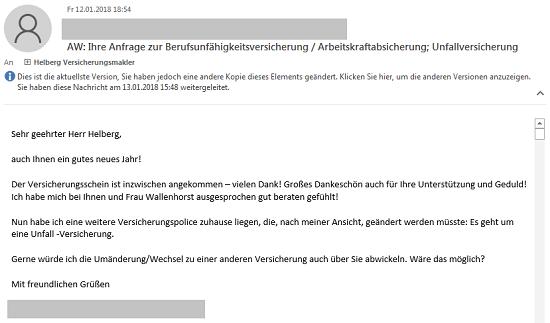 """""""Ich habe mich bei Ihnen und Frau Wallenhorst ausgesprochen gut beraten gefühlt"""""""