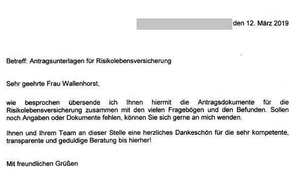 """Erfahrung mit Anja Wallenhorst von Helberg Versicherungsmakler: """"(...) herzliches Dankeschön für die sehr kompetente, transparente und geduldige Beratung bis hierher!"""""""