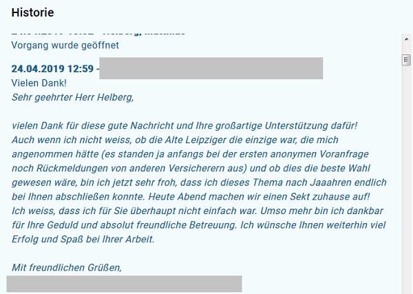 """Feedback aus dem Helberg EXTRANET: """"Vielen Dank für diese gute Nachricht und Ihre großartige Unterstützung dafür! (...) Heute Abend machen wir einen Sekt zuhause auf!"""""""