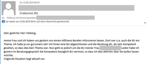 """Erfahrung mit Helberg Versicherungsmakler: """"Ich habe (...) mit Ihnen eine BU abgeschlossen und die Beratung etc. als sehr kompetent gesehen (...)."""""""