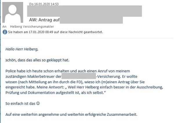 """Erfahrungen eines Kollegen mit Helberg Versicherungsmakler: """"Weil Herr Helberg einfach besser in der Ausschreibung, Prüfung und Dokumentation aufgestellt ist, als ich selbst."""""""