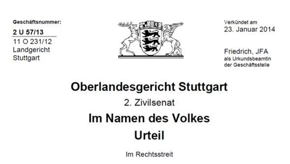 Allianz-Urteil OLG Stuttgart 2 U 57/13 vom 23.01.2014