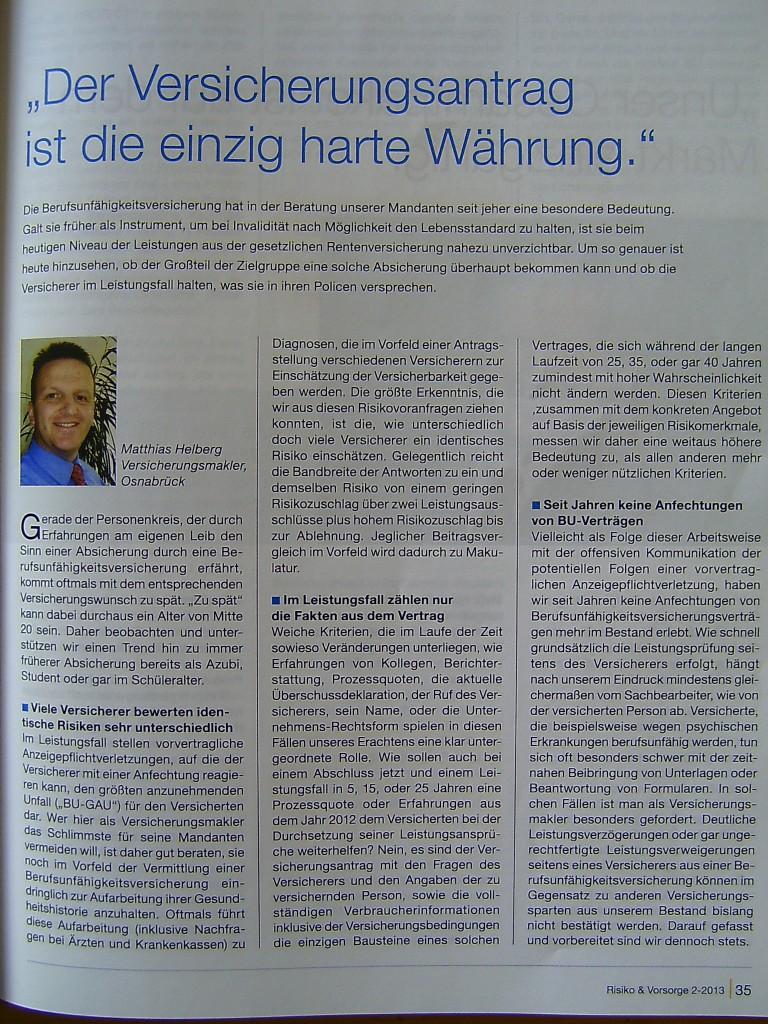 """Artikel von Matthias Helberg in """"Risiko und Vorsorge"""", Heft II 2013"""