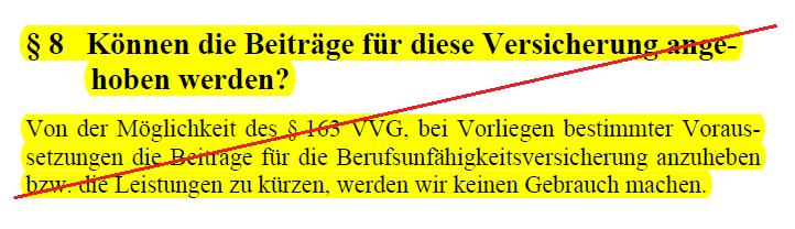 Alte Leipziger BU Tarif BV10: Kein Verzicht auf § 163 VVG mehr.