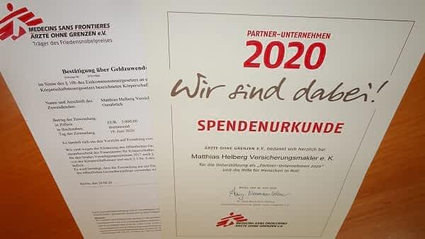 Ärzte ohne Grenzen Spendenurkunde Partner-Unternehmen 2020