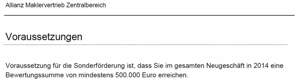 Die Voraussetzungen für die Allianz Sonderförderung: 500.000 EUR Umsatz