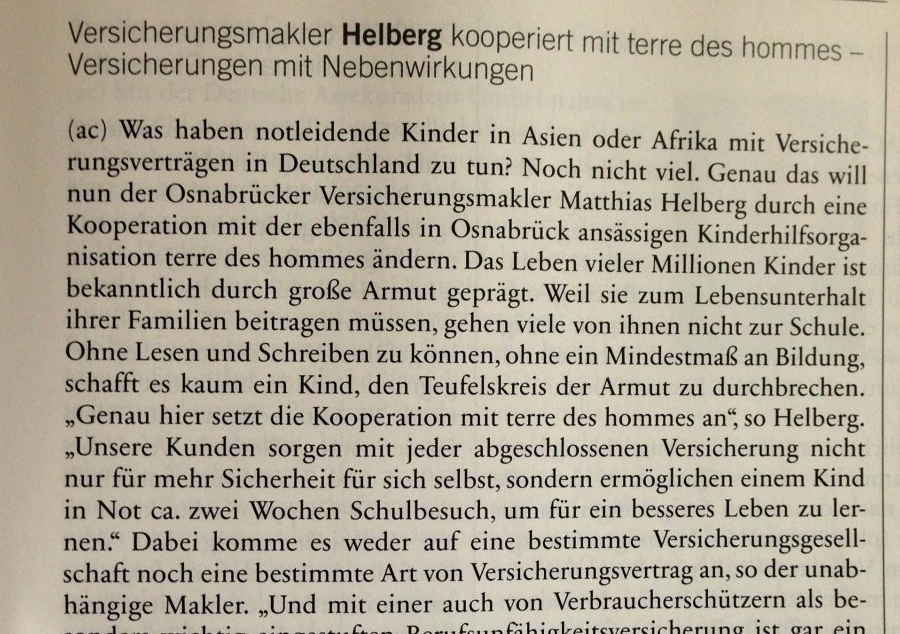 Auszug aus AssCompact 04/2013 Helberg kooperiert mit terre des hommes