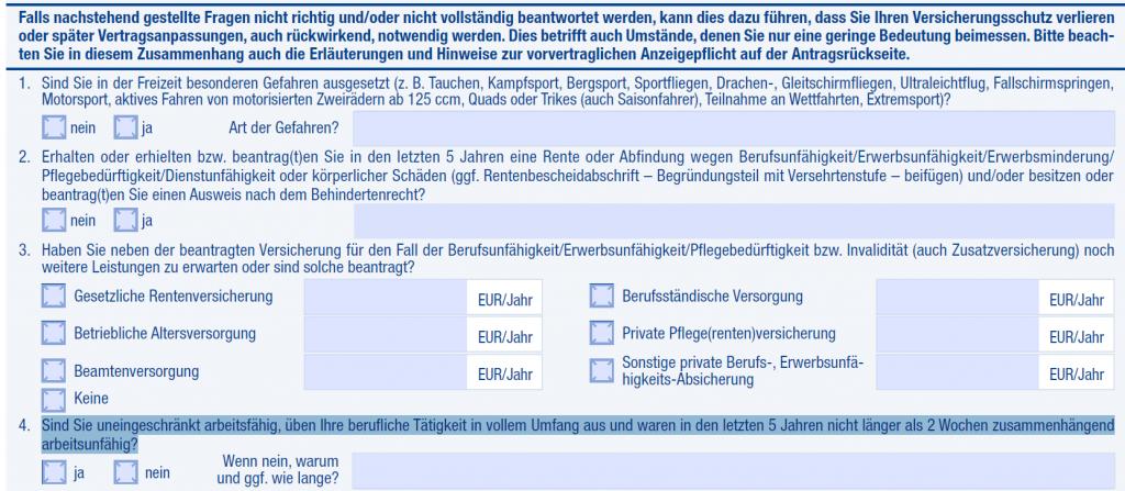 Basler Berufsunfähigkeitsversicherung: Die Fragen im Aktionsantrag zum Tarif SBU + Pflegeaktiv