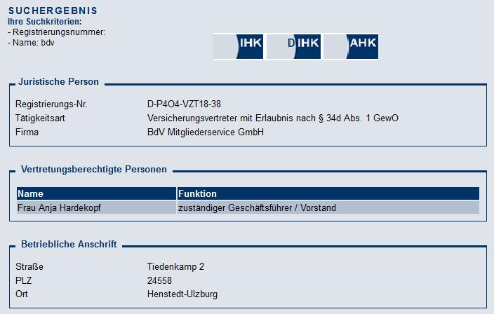 BdV Mitgliederservice GmbH, registriert als Versicherungsvertreter