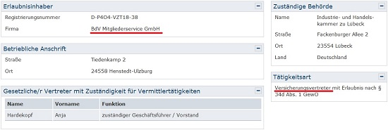 Eine GmbH des BdV ist als Versicherungsvertreter registriert. Bildquelle: vermittlerregister.info