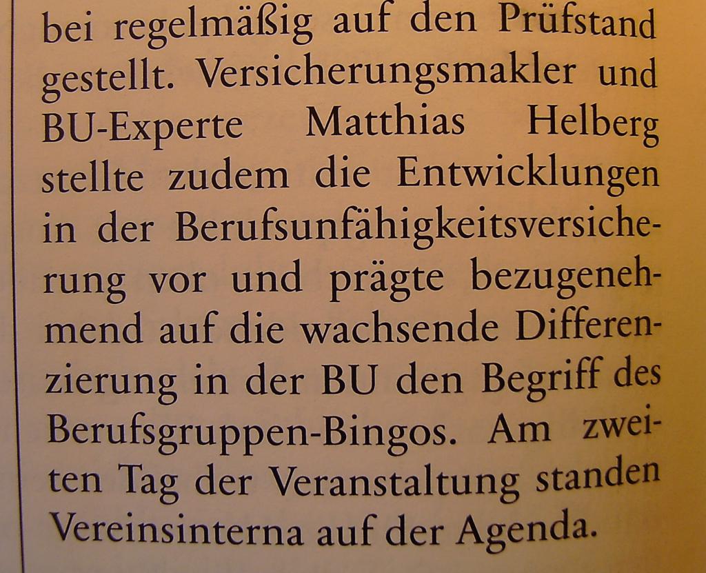 """prägte (...) den Begriff des Berufsgruppen-Bingo."" Quelle: AssCompact 04/2014, S. 96"