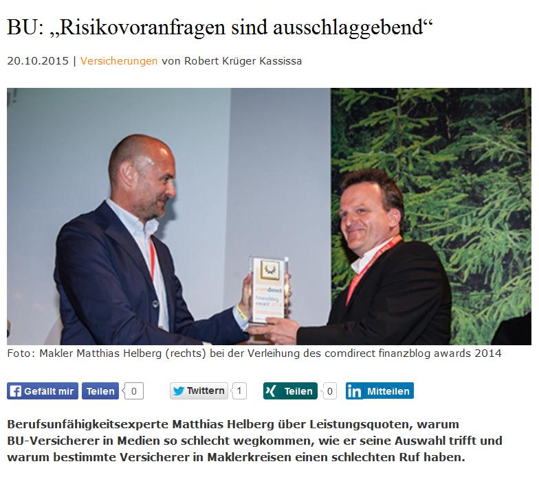 Berufsunfähigkeitsexperte Matthias Helberg im Procontra Interview