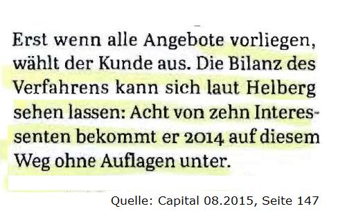 """""""Die Bilanz kann sich laut Helberg sehen lassen. Quelle: Capital 08.2015"""