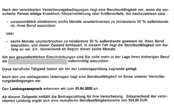 Aus dem Leistungsbescheid der Basler Lebensversicherung zur Anerkennung einer Berufsunfähigkeit im Prognosezeitraum
