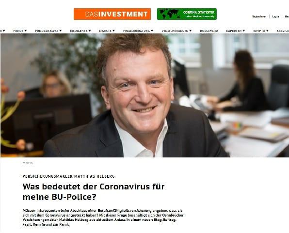 Screenshot Das Investment: Was bedeutet Corona für meine BU-Police? Quelle: dasinvestment.com