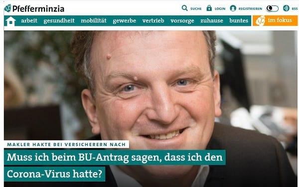 Screenshot Pfefferminzia: Muss ich beim BU-Antrag sagen, dass ich den Corona -Virus hatte? Quelle: pfefferminiza.de