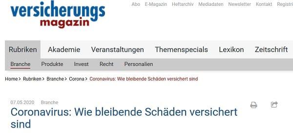 Screenshot Versicherungsmagazin: Coronavirus - wie bleibende Schäden versichert sind Quelle: versicherungsmagazin.de