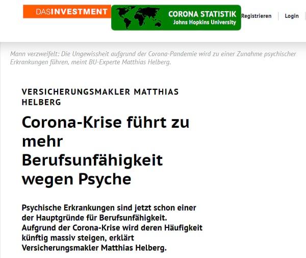 Das Investment: Corona-Krise führt zu mehr BU wegen Psyche. Screenshot von https://www.dasinvestment.com/versicherungsmakler-matthias-helberg-corona-krise-fuehrt-zu-mehr-berufsunfaehigkeit-wegen-psyche/