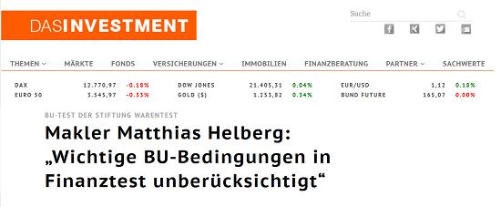 """Das Investment zum BU-Test 2017 von Stiftung Warentest. """"Makler Matthias Helberg: 'Wichtige BU-Bedingungen in Finanztest unberücksichtigt'"""""""