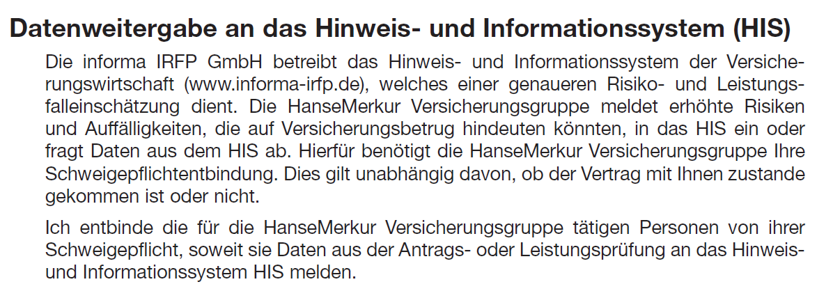 HIS Einwilligungsklausel der HanseMerkur. Quelle: HanseMerkur Antragsformular ML 513 07.15