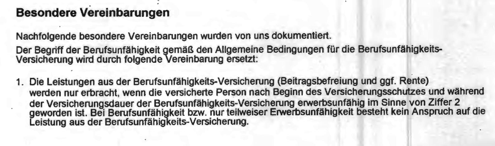 """EU-Klausel: """"Bei Berufsunfähigkeit (...) besteht kein Anspruch auf die Leistung aus der Berufsunfähigkeits-Versicherung"""""""