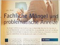 """""""Fachliche Mängel und problematische Anreize"""" titelt das Versicherungsmagazin in Ausgabe 10/2013"""