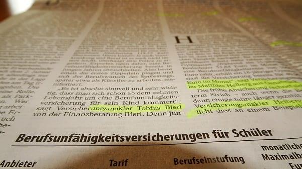 Arbeitskraft schon im Schulalter absichern - der Artikel in der FAZ vom 12.10.2019
