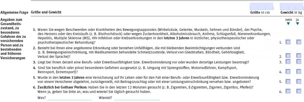 So sehen die vereinfachten Fragen im Antrag der Gothaer Berufsunfähigkeitsversicherung aus